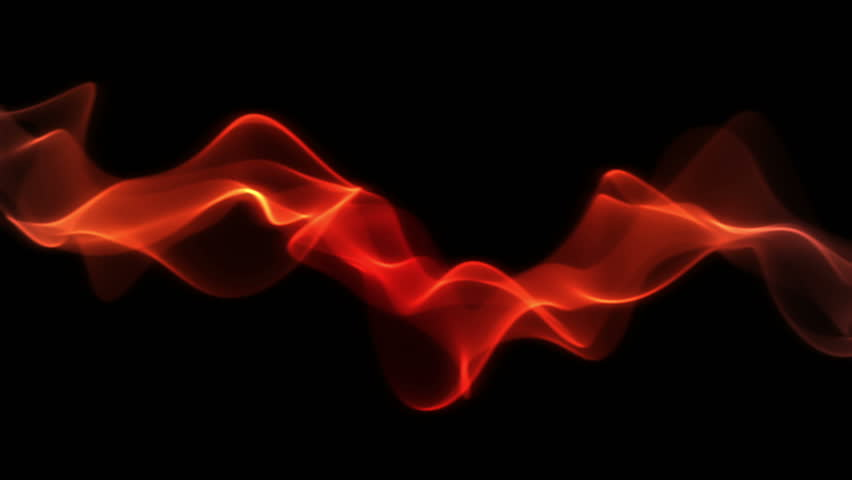 Smooth fiery red stream slowly flow on black background, with copy space.  Soft fiery flame waves in horizontal motion.  Animation, abstract illustration, seamless loop