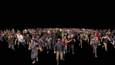 People Run Away Terrified Front Alpha Matte 3D Rendering Animations