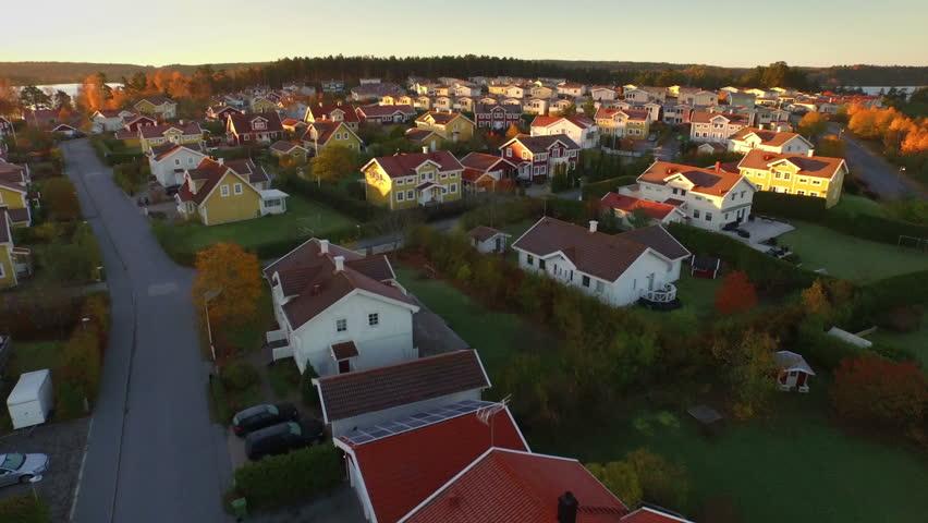 Ariel view of houses in Sweden | Shutterstock HD Video #1009512152