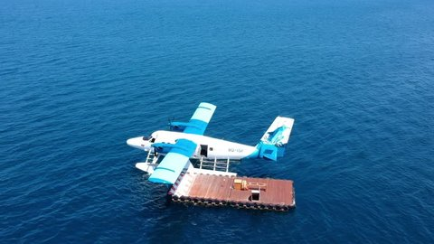 Kudafushi, Maldives - October 24th 2017 - Top view of a Seaplane at coal in paradise