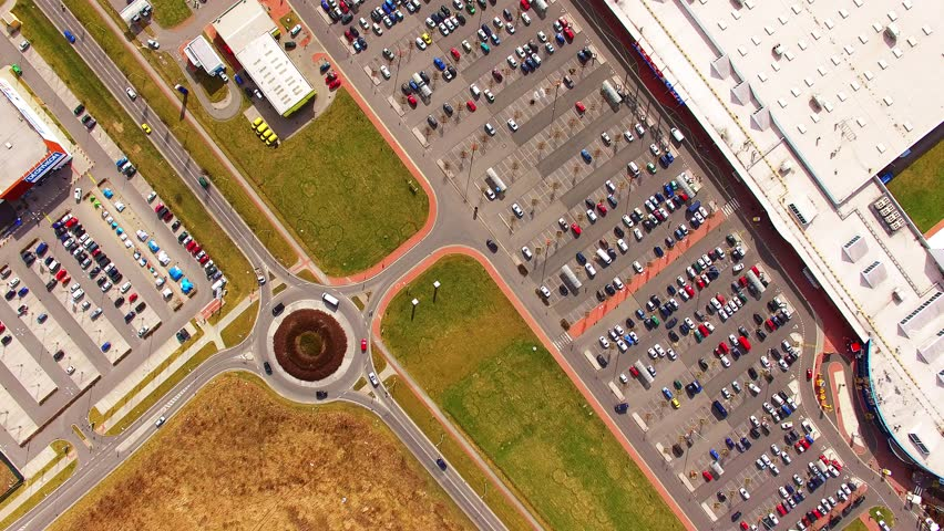 Aerial view from drone to industrial zone and technology park on Borska pole of Pilsen city in Czech Republic, Europe. European industry from above.