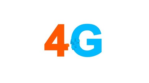 abbreviation 4G multi-colored appear then disappear under the lightning strikes changing color. Alpha channel Premultiplied - Matted with color black