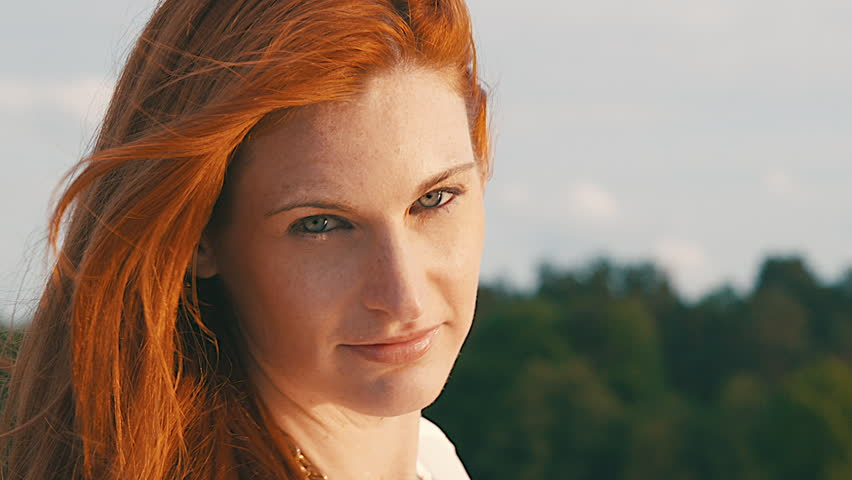 Headshot Of Red-Haired Woman On Stock Footage Video 100 -6036