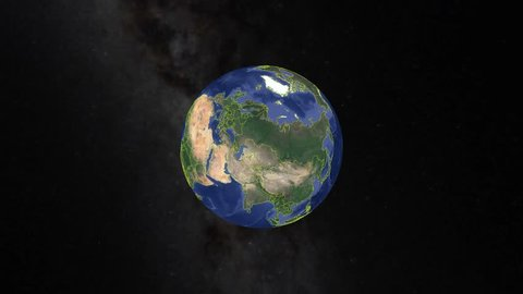 Serbia with flag. 3d earth in space - zoom in Serbia outer, created using ultra high res NASA
