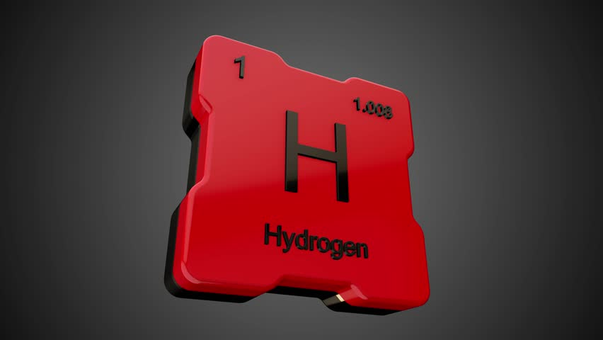 Hydrogen element symbol from periodic table on futuristic red glossy icon animated on dark background and chroma key green screen background | Shutterstock HD Video #1009561292