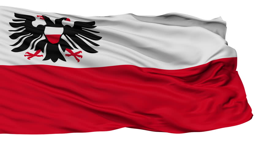 Lubeck flag, city of Germany, realistic animation isolated on white seamless loop - 10 seconds long (alpha channel is included)