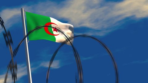 3D animation of an Algerian flag waving on a flagpole as razor wire appears in the foreground; depicting the increase of barriers between nations.