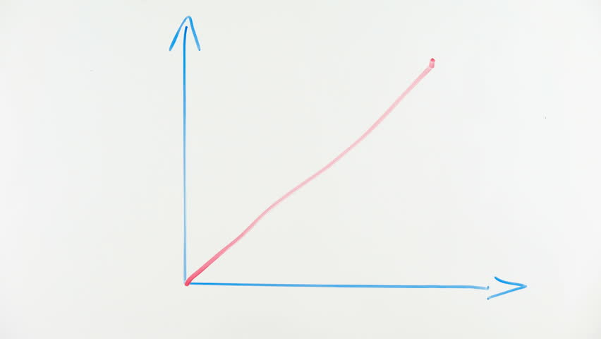Growing graph drawn on glass, business development, sociology surveys results