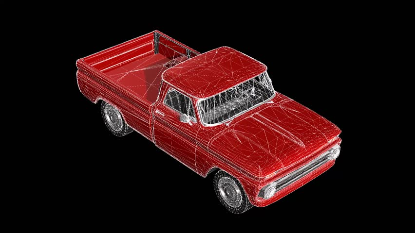 A three-dimensional model of a pickup truck in the form of a polygon mesh object with texture. The camera moves makes around.