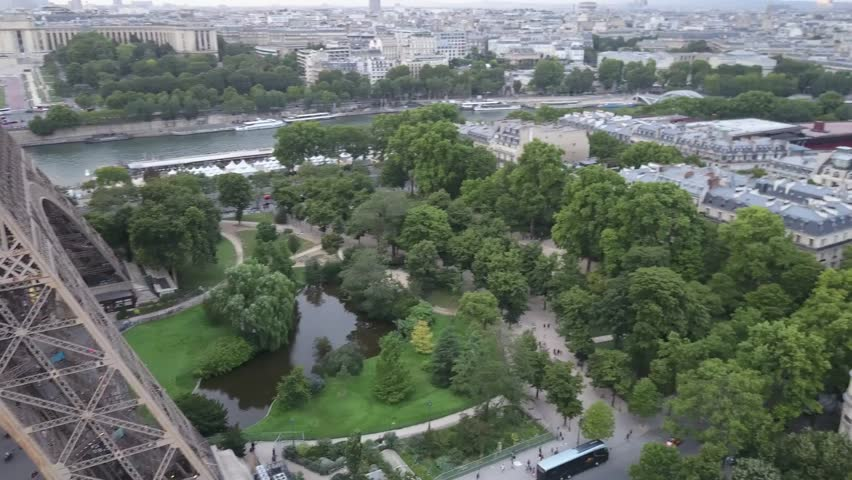 Aerial View of Eiffel Tower Attraction, Paris tower landscape. eiffel shot by drone. | Shutterstock HD Video #1009632812