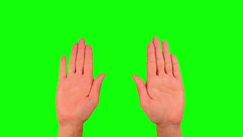 Stop hand sign, gesture PACK chroma key. 3 Various Stop gesture include gesture with two hands. Man's palm closeup shot isolated at green screen background.