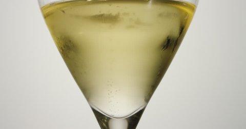 Champagne bubbles macro white wine