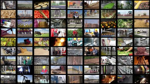 Video wall montage industrial production. People working in a factory, construction, agriculture, steel mill, foundry, power plant, food industry, bakery, sunflower oil, blacksmith shop, control room,