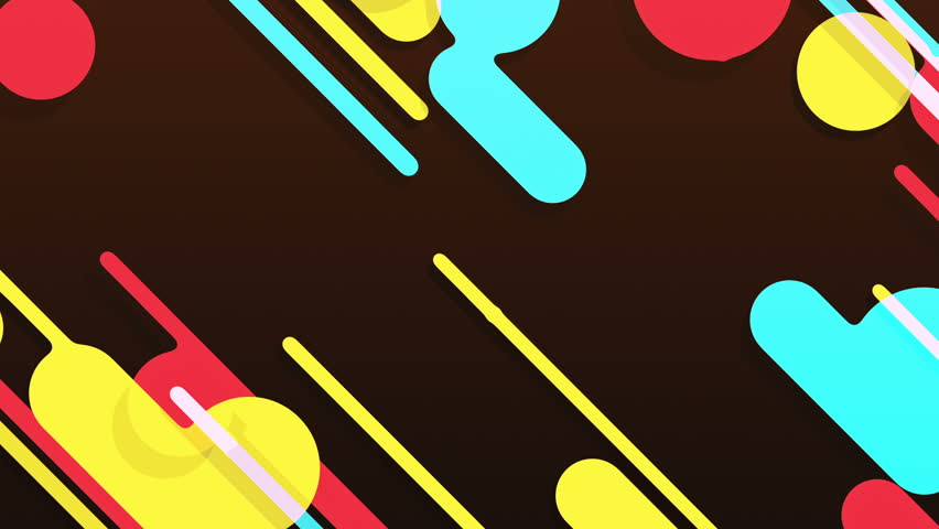 Abstract background in flat style with animation of rounded rectangles, circles and lines with light shadow or neon glow on colorful backdrop. Animation of seamless loop. | Shutterstock HD Video #1009683872