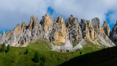 Time Lapse of Dolomites Italy landscape Pizes de Cir Ridge in South Tyrol, Western Dolomites - Italy tourist attraction for nature travel and outdoor acticity. Breathtaking landscape of Northern Italy