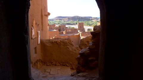 Clay houses in Ait-Ben-Haddou, Morocco. Gimbal stabilized tracking shot.