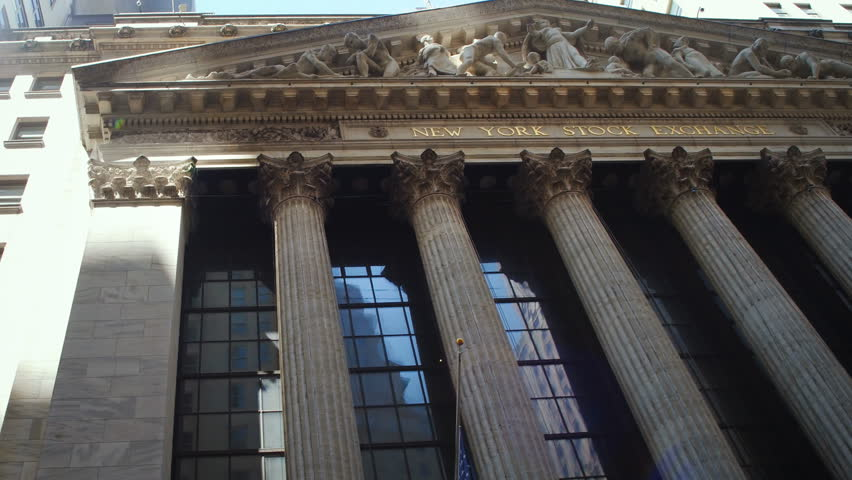 New York City, United States, Circa 2017.  New York Stock Exchange extraordinary facade. The NYSE is located at 11Wall Street in Lower Manhattan.