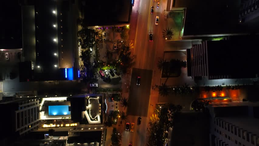 City lights direct overhead aerial video 4k Miami