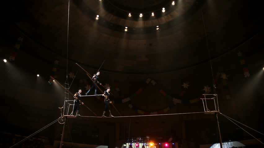 Tightrope walkers at the circus