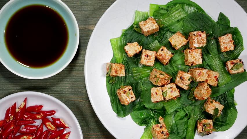 Vegetarian Pak Choi With Chilli Tofu