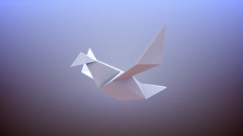 Solitary Origami Paper Bird Flying, 4K Animated 3D Illustration - Seamless Loop - Black and White Matte Included