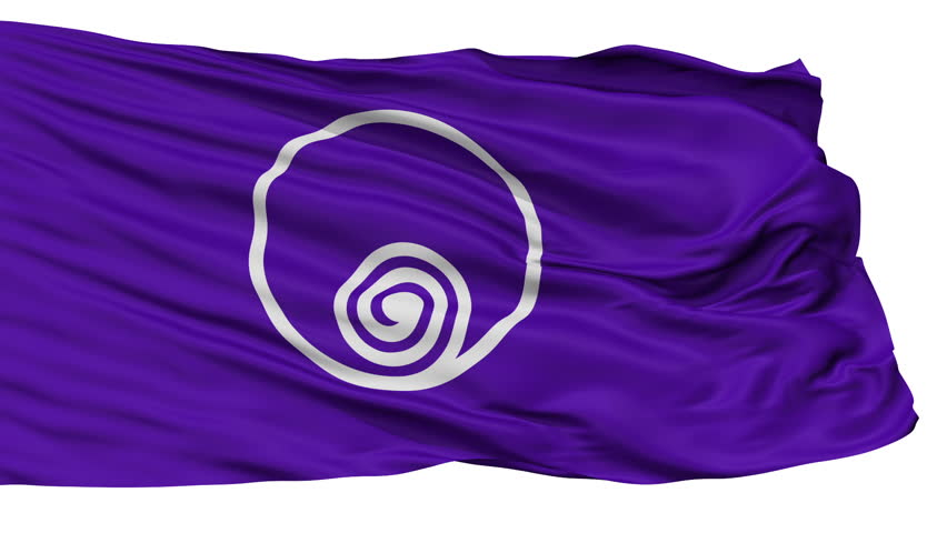 Naruto flag, Tokushima prefecture, realistic animation isolated on white seamless loop - 10 seconds long (alpha channel is included)