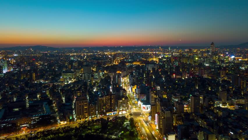 Sunset sky taipei cityscape downtown traffic aerial panorama 4k timelapse taiwan | Shutterstock HD Video #1009837502