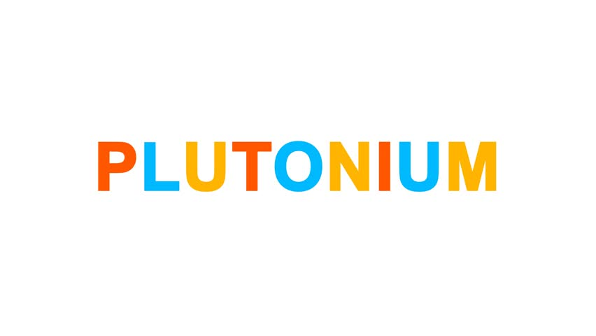 Element of periodic table PLUTONIUM from letters of different colors appears behind small squares. Then disappears. Alpha channel Premultiplied - Matted with color white