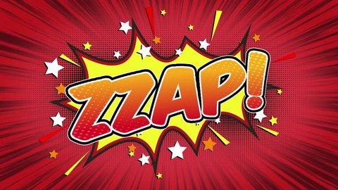 zzap Word Retro Cartoon Comic Bubbles Popup Style Expressions Colored Bomb and Smoke Strip Dotted and red Speed Radial line Seamless loop Animation black / green screen 4k doodle background. 36