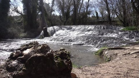 Waterfall in a river of the zaragoza natural park