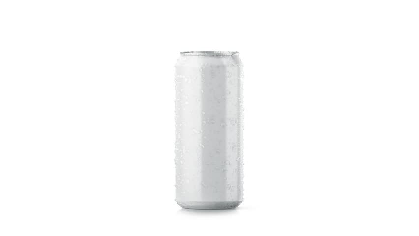 Blank big cold aluminium beer can mockup with drop, clipping mask, looped rotation, 3d rendering. Empty soda tin packing mock up with condensate, isolated. Canned dripping drink. Fizzy pop package   Shutterstock HD Video #1009877222