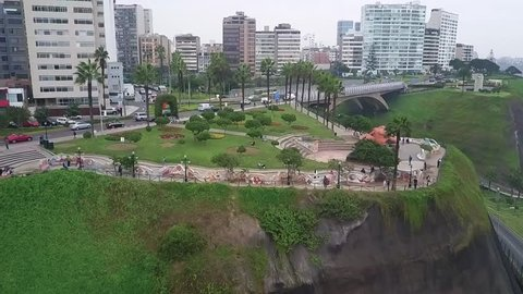 MIRAFLORES, PERU: Aerial view of Miraflores district, in Lima.
