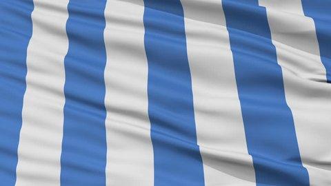 Mar del Plata closeup flag, city of Argentina, realistic animation seamless loop - 10 seconds long