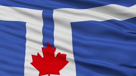 Toronto  closeup flag, city of Canada, realistic animation seamless loop - 10 seconds long