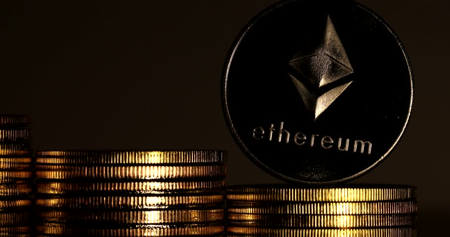 4K Physical metal silver Ethereum currency on white background. New worldwide virtual internet money. Digital Etherum coin cyberspace, cryptocurrency ETH. | Shutterstock HD Video #1009942442