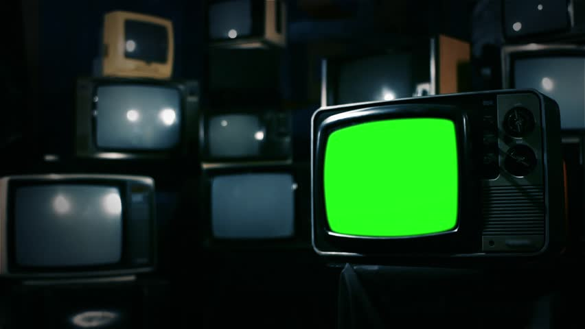 Vintage 80s Tv with Green Screen. Ready to replace green screen with any footage or picture you want. Blue Steel Tone. Zoom In. | Shutterstock HD Video #1009948112