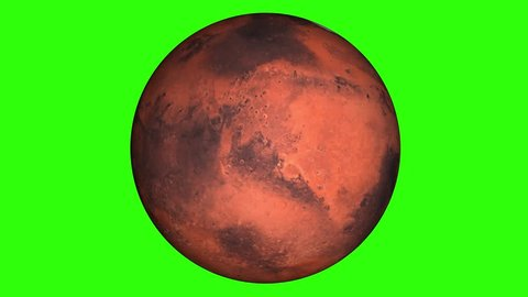 Beautiful planet of Mars animation in green screen. Close to the World, Mars is rotating. Milky Way galaxy's the red planet of Mars.