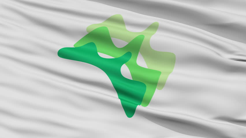Yamanashi close up flag, Yamanashi prefecture, realistic animation seamless loop - 10 seconds long