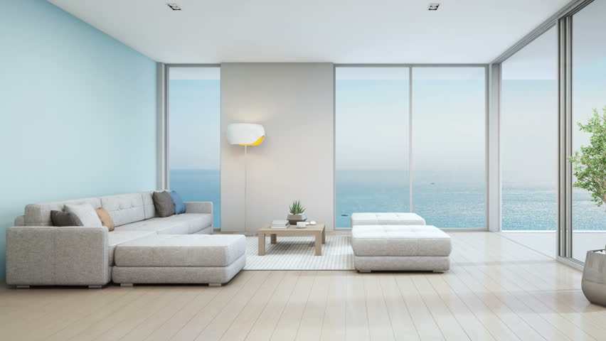 living room in beach house modern luxury interior with
