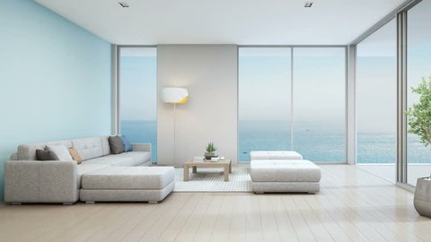 Sea view living room of luxury beach house with indoor plant near glass door and wooden floor deck. Big white sofa against blue wall in vacation home or holiday villa. Hotel interior 3d illustration.