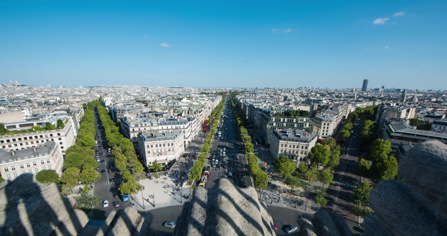 PARIS, FRANCE – SEPTEMBER 2016 : Timelapse over central Paris cityscape on a beautiful day with view of traffic and skyline | Shutterstock HD Video #1009990802