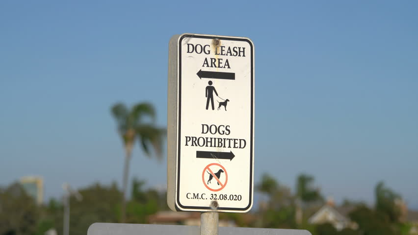 Professional video of dogs prohibited and dog leash area sign in 4k slow motion 60fps    Shutterstock HD Video #1010001182