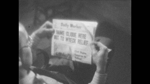 1940s: Man sits in chair, opens newspaper, reads. Newspapers roll through printing press, headlines flash.