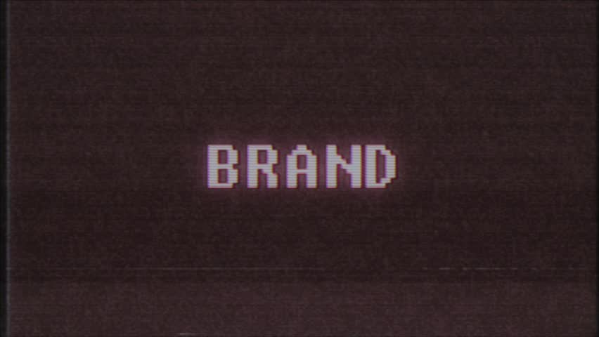 Retro videogame BRAND word text computer old tv glitch interference noise screen animation seamless loop New quality universal vintage motion dynamic animated background colorful joyful video m   Shutterstock HD Video #1010004092