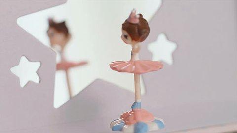 Music box with dancing rotating ballerina, 4k
