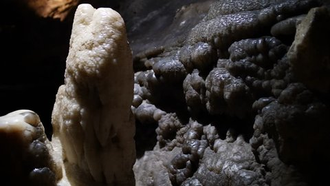 Stalagmitic deposits in the Ruby falls cave