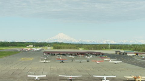 Alaska - September, 2017: Aerial airport view of Cessna planes a small propeller driven aircraft Anchorage Northern Pacific Southern Alaska USA