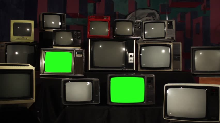Aesthetic Televisions of the 80s with Green Screens that Turn Off. Zoom In. Ready to replace green screen with any footage or picture you want.  | Shutterstock HD Video #1010055182