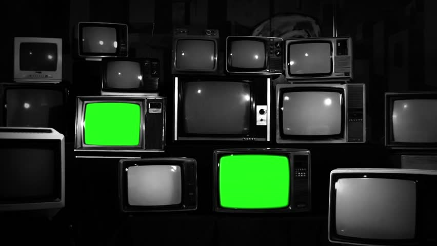 Aesthetic Televisions of the 80s with Green Screens that Turns On. Black and White Tone. Zoom In Fast. Ready to replace green screen with any footage or picture you want.  | Shutterstock HD Video #1010055422