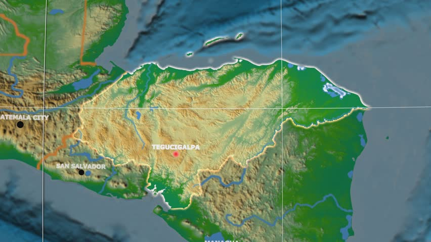 Honduras Shape Animated On The Physical Map Of The Globe Stock